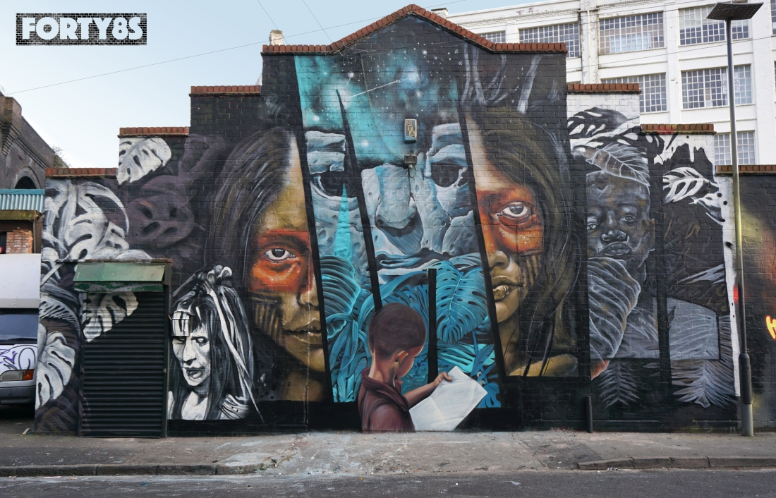 Forty8s - Newso Gent48 - graffiti mural - The Body Shop - Enrich not exploit - Blotto music studios - Floodgate St Digbeth Birmingham